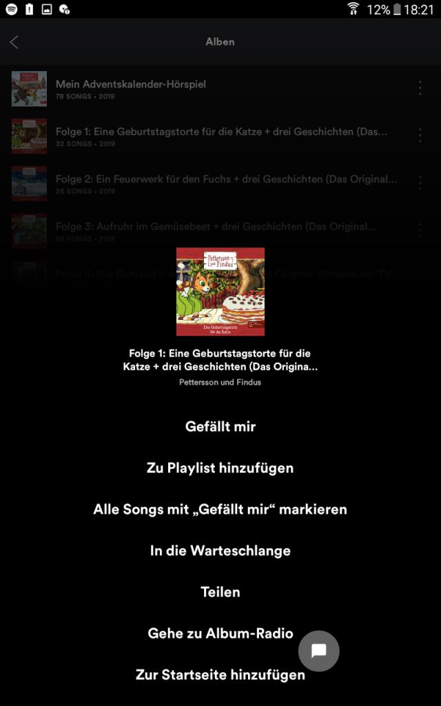 """Spotify: """"Zum Starbildschirm hinzufügen"""""""