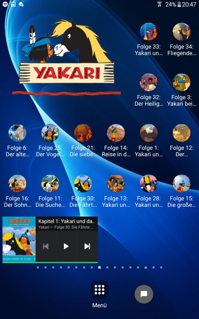 Yakari-Serienseite auf dem Kinder-Spotify-Player