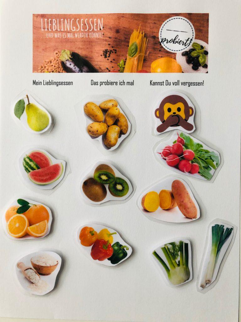 Probieren Liste für Lebensmittel (Obst, Gemüse, Beilagen)